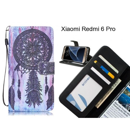 Xiaomi Redmi 6 Pro case 3 card leather wallet case printed ID