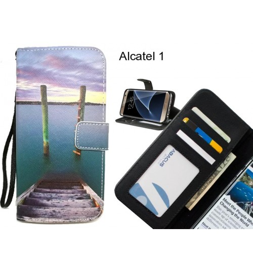 Alcatel 1 case 3 card leather wallet case printed ID