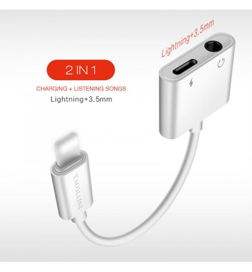 2 in 1 Lightning to 3.5mm Audio AUX Cable USB Charger For iPhone