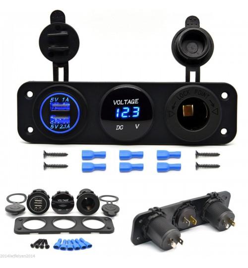 USB Voltmeter lighter socket 12V panel Cigarette Lighter Outlet Socket Panel