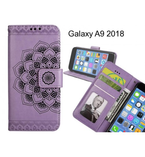 Galaxy A9 2018 Case mandala embossed leather wallet case