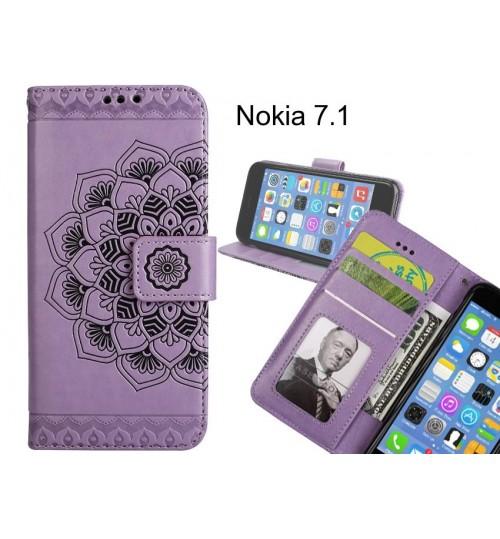 Nokia 7.1 Case mandala embossed leather wallet case