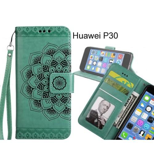 Huawei P30 Case mandala embossed leather wallet case