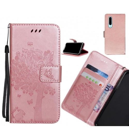 Huawei P30 case leather wallet case embossed cat & tree pattern