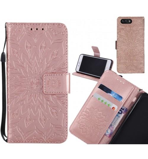 Asus Zenfone 4 2017 Case Leather Wallet case embossed sunflower pattern