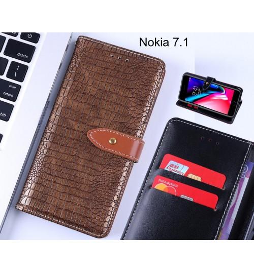 Nokia 7.1 case croco pattern leather wallet case