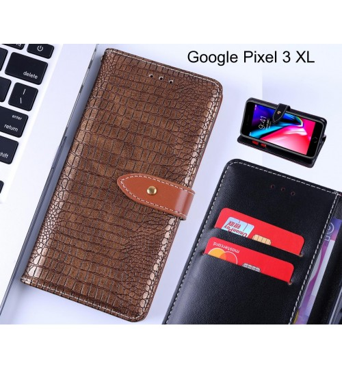 Google Pixel 3 XL case croco pattern leather wallet case