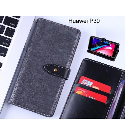 Huawei P30 case croco pattern leather wallet case