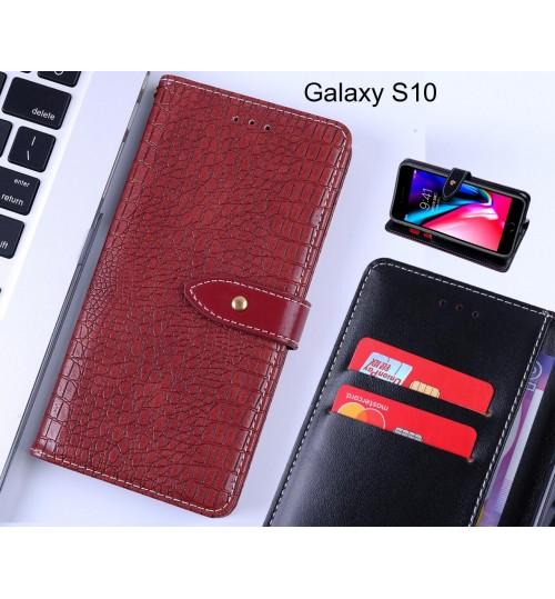 Galaxy S10 case croco pattern leather wallet case