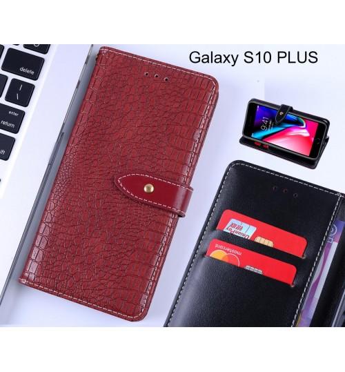 Galaxy S10 PLUS case croco pattern leather wallet case