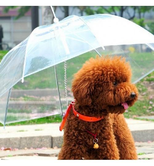 DOG WALKING WATERPROOF COVER BUILT-IN LEASH RAIN SLEET SNOW PET UMBRELLA