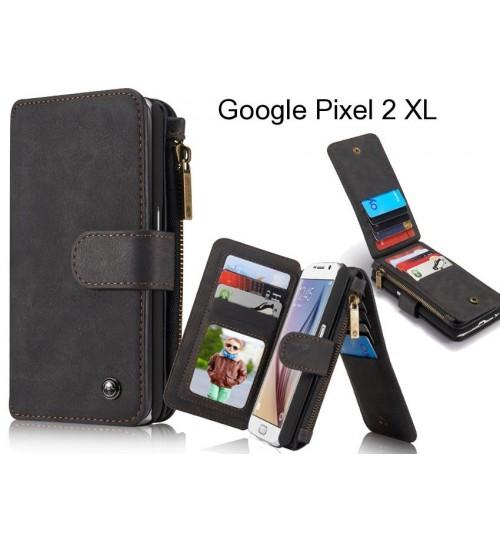 Google Pixel 2 XL Case Retro leather case multi cards cash pocket & zip