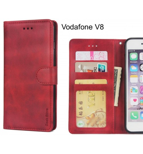 Vodafone V8 Case Wallet Leather Vintage Flip Folio Case