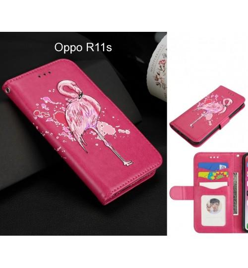 Oppo R11s Case Wallet Leather Case Flamingo Pattern