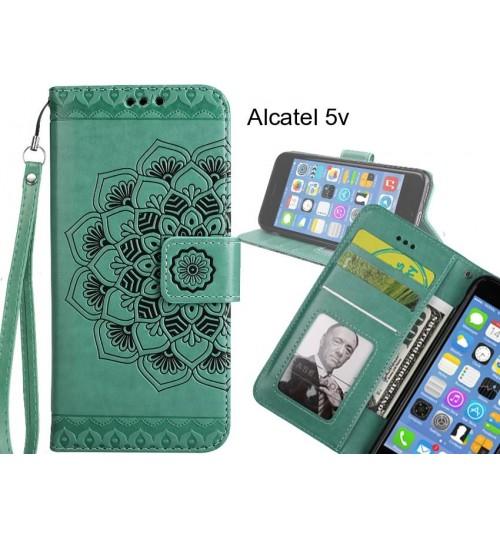 Alcatel 5v Case mandala embossed leather wallet case