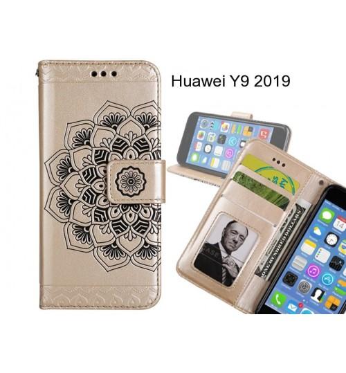 Huawei Y9 2019 Case mandala embossed leather wallet case