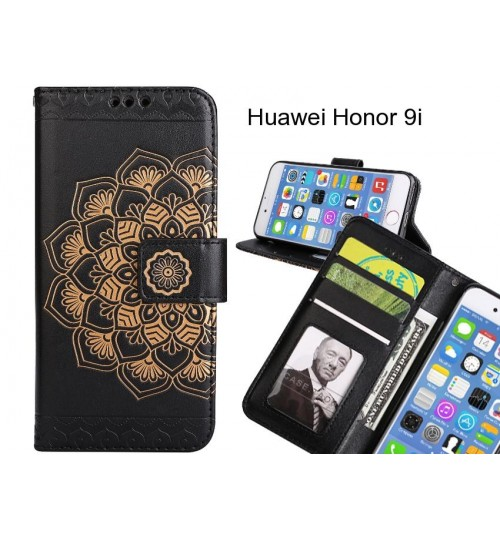 Huawei Honor 9i Case mandala embossed leather wallet case