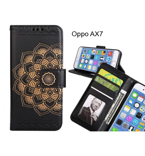 Oppo AX7 Case mandala embossed leather wallet case
