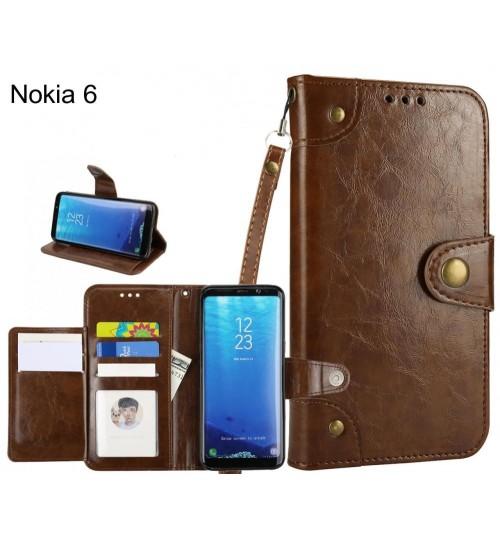 Nokia 6 case executive fine leather wallet case