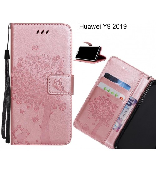 Huawei Y9 2019 case leather wallet case embossed cat & tree pattern