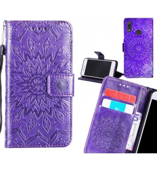 Huawei Y9 2019 Case Leather Wallet case embossed sunflower pattern