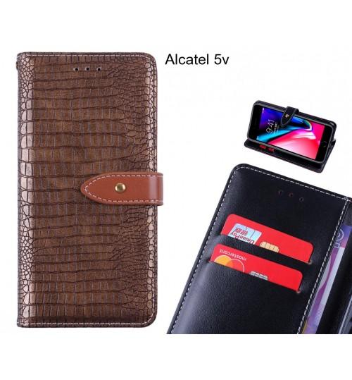 Alcatel 5v case croco pattern leather wallet case