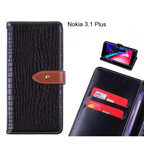 Nokia 3.1 Plus case croco pattern leather wallet case