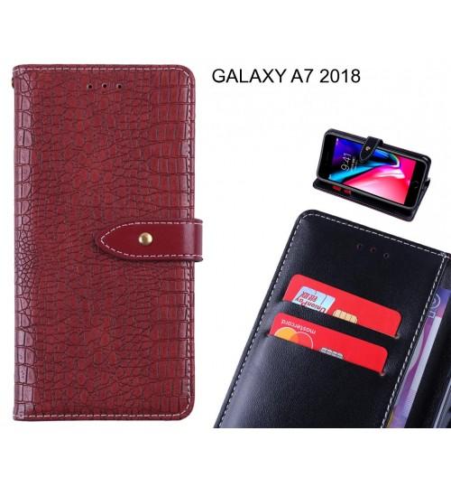 GALAXY A7 2018 case croco pattern leather wallet case