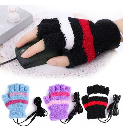 USB heated warm gloves