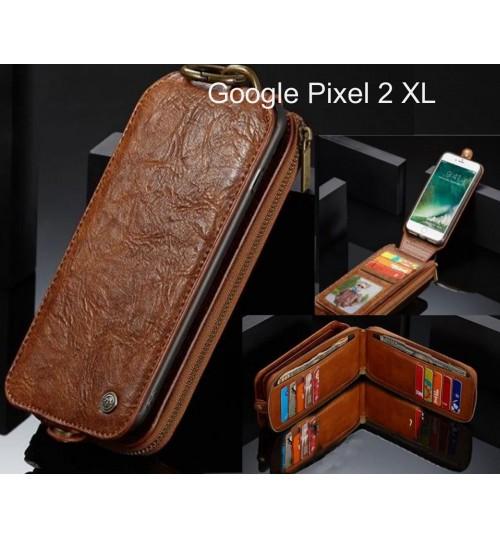 Google Pixel 2 XL case premium leather multi cards 2 cash pocket zip pouch