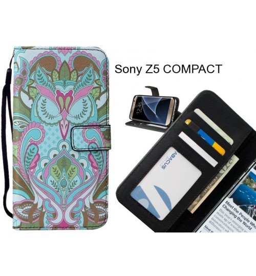 Sony Z5 COMPACT case leather wallet case printed ID