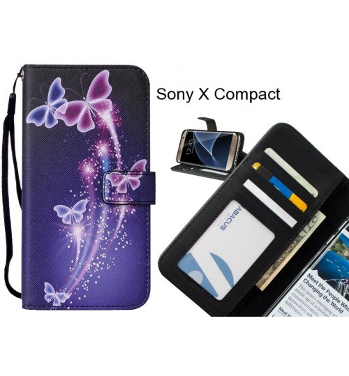Sony X Compact case leather wallet case printed ID