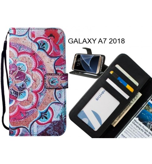 GALAXY A7 2018 case leather wallet case printed ID