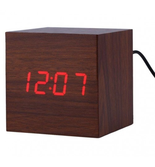 Wooden Wood Digital LED Alarm Clock