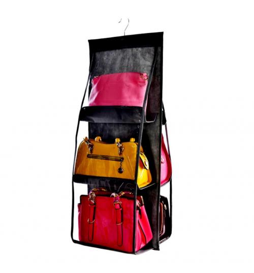 6 Pocket Hanging Handbag Storage Organizer Wardrobe Clothing Tidy Holder