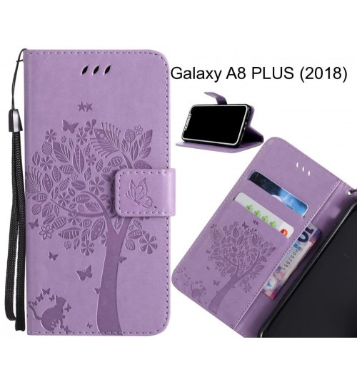 Galaxy A8 PLUS (2018) case leather wallet case embossed cat & tree pattern