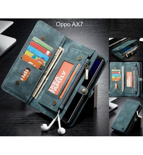 Oppo AX7 Case Retro leather case multi cards cash pocket & zip