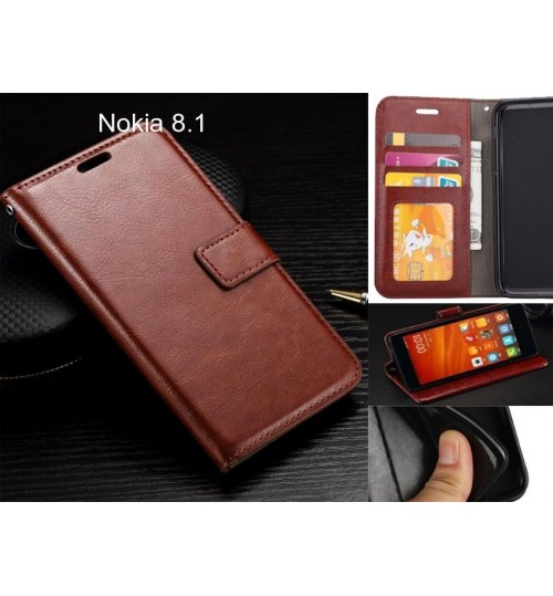 Nokia 8.1 case Fine leather wallet case
