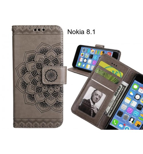 Nokia 8.1 Case mandala embossed leather wallet case