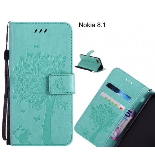 Nokia 8.1 case leather wallet case embossed cat & tree pattern
