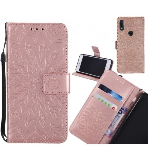 Alcatel 3v Case Leather Wallet case embossed sunflower pattern