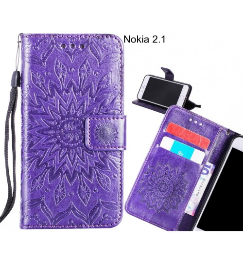 Nokia 2.1 Case Leather Wallet case embossed sunflower pattern