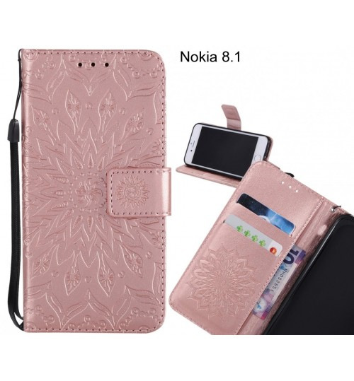 Nokia 8.1 Case Leather Wallet case embossed sunflower pattern