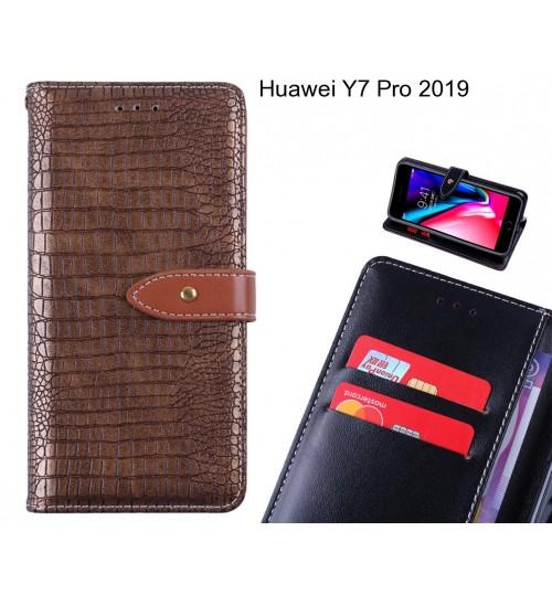 Huawei Y7 Pro 2019 case croco pattern leather wallet case
