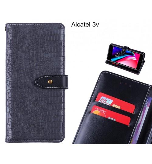 Alcatel 3v case croco pattern leather wallet case