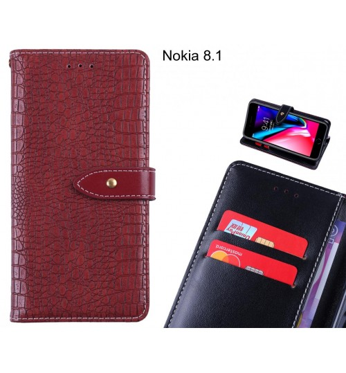Nokia 8.1 case croco pattern leather wallet case