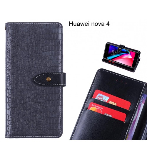 Huawei nova 4 case croco pattern leather wallet case