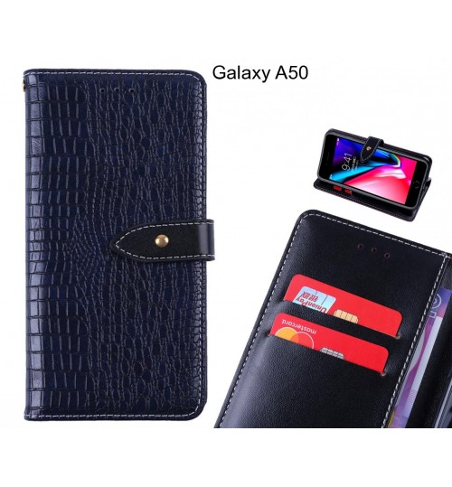 Galaxy A50 case croco pattern leather wallet case