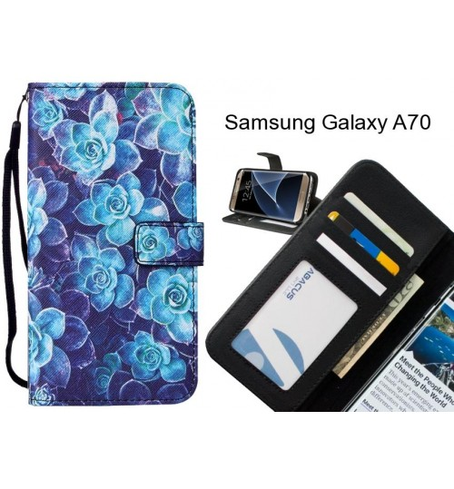 Samsung Galaxy A70 case leather wallet case printed ID