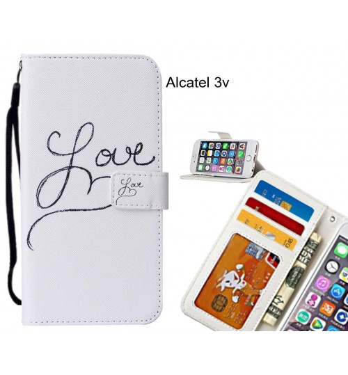 Alcatel 3v case leather wallet case printed ID
